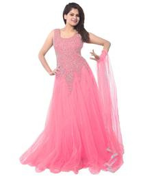 Baby pink net embroidered semi stitched gown shop online