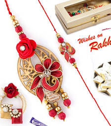 Buy Pretty Rose Studded Bhaiya Bhabhi Rakhi Set rakhi-international online