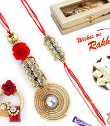 Buy Spiral Metallic Bhaiya Bhabhi Rakhi Set with American Diamonds rakhi-international online