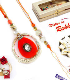 Buy Metal Ring and Crystal Bhaiya Bhabhi Rakhi Set rakhi-international online