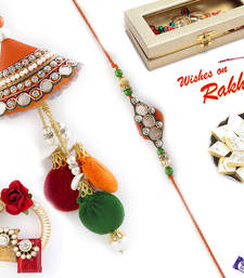 Buy Orange & Green Jewelled Bhaiya Bhabhi Rakhi Set rakhi-international online