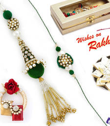 Buy Freshwater Pearl & CZ studded Beautiful Green Rakhi Set rakhi-international online