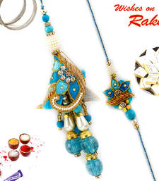 Buy Amiable Blue Shade Zardosi Work Bhaiya Bhabhi Rakhi Set rakhi-international online
