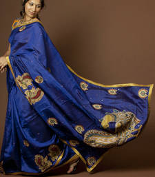 Buy Royal Blue Kalamkari silk-saree online