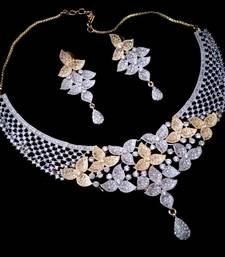 Buy Amazing white two tone american diamond necklace set necklace-set online