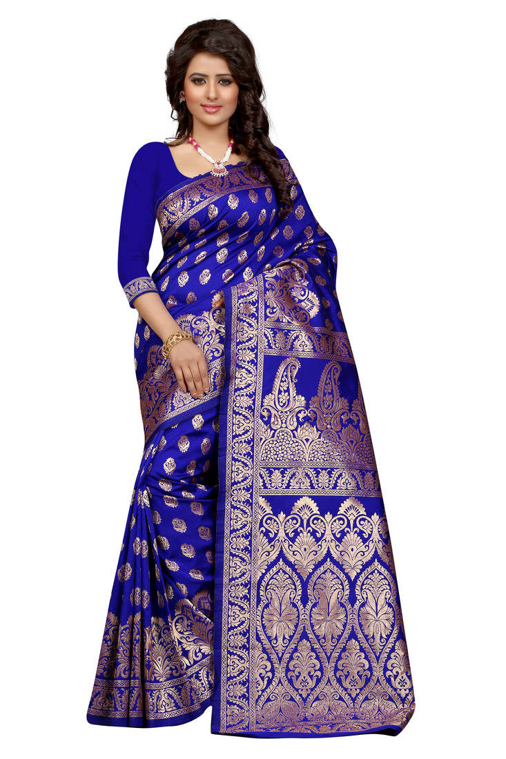 Buy Blue printed banarasi silk saree With Blouse Online
