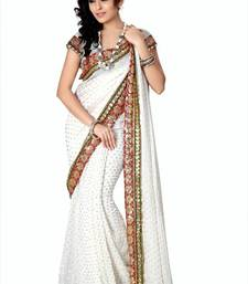 Buy White viscose saree with blouse (anc459) viscose-saree online
