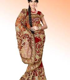 Buy Maroon net saree with blouse (anc463) net-saree online