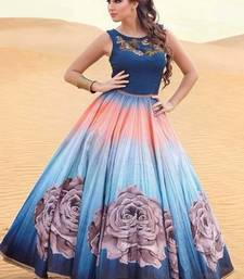 Buy Blue and sky banglori silk and satin print semi stitiched party wear gowns party-wear-gown online