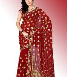 Buy Maroon faux georgette saree with blouse (anc478) georgette-saree online