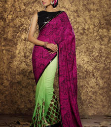 Buy magenta printed viscose saree With Blouse viscose-saree online