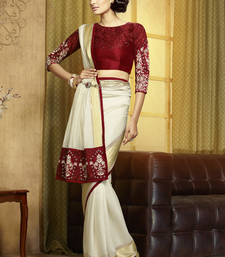 Buy ivory embroidered viscose saree With Blouse viscose-saree online