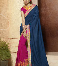 Buy blue embroidered viscose saree With Blouse viscose-saree online