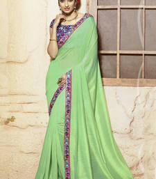 Buy light green embroidered viscose saree With Blouse viscose-saree online