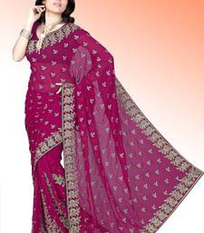 Buy Deep magenta faux georgette saree with blouse (anm504) georgette-saree online