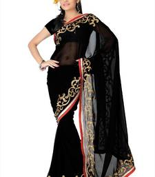 Buy Black faux georgette saree with blouse (and801) georgette-saree online