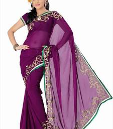 Buy Wine faux georgette saree with blouse (and803) georgette-saree online