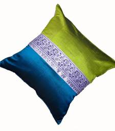 Mulberry Silk Cushions with applique patterns - Peacock Green & Blue shop online