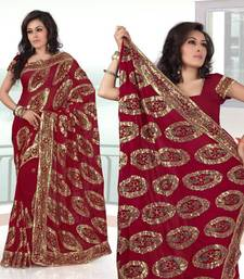 Buy Maroon faux georgette saree with unstitched blouse (281) georgette-saree online