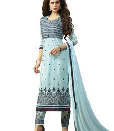 Buy Aqua and blue embroidered cotton unstitched salwar with dupatta gifts-for-sister online