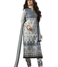 Buy Grey embroidered cotton unstitched salwar with dupatta gifts-for-sister online
