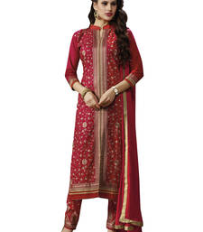 Buy Red embroidered cotton unstitched salwar with dupatta gifts-for-sister online