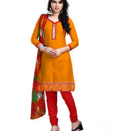 Buy Orange embroidered cotton unstitched salwar with dupatta gifts-for-sister online