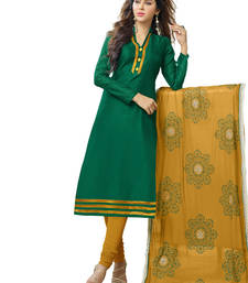 Buy Dark green embroidered banarasi chanderi unstitched salwar with dupatta gifts-for-sister online