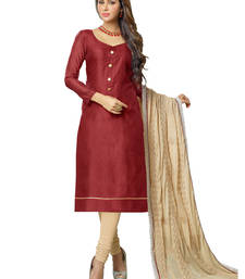 Buy Maroon embroidered banarasi chanderi unstitched salwar with dupatta gifts-for-sister online