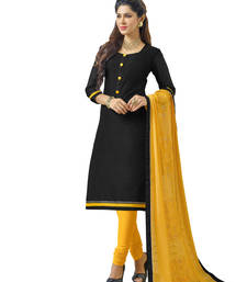 Buy Black embroidered banarasi chanderi unstitched salwar with dupatta gifts-for-sister online