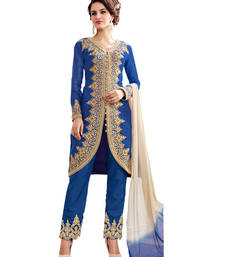Buy Royal blue embroidered cotton unstitched salwar with dupatta gifts-for-sister online