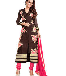 Buy Brown embroidered cotton unstitched salwar with dupatta gifts-for-sister online
