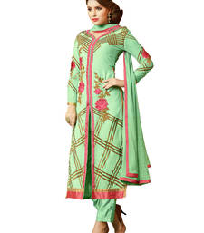 Buy Light green embroidered georgette unstitched salwar with dupatta gifts-for-sister online