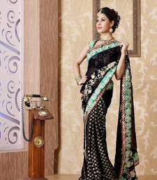Buy Black viscose saree with unstitched blouse (bmc1328) viscose-saree online