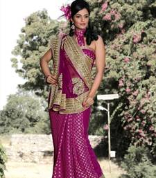 Buy Magenta viscose saree with unstitched blouse (bwd906) viscose-saree online