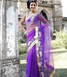 Buy Purple net saree with unstitched blouse (bwd909) net-saree online