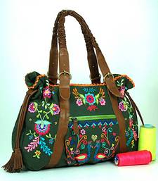 Buy Peacock Embroidered Dark Green Tote handbag online