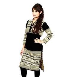 Buy yellow and black georgette straight semi stitched kurti plus-size-kurti online