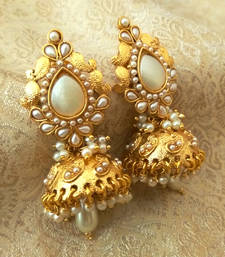 Buy Preety White Bandani Golden Pearls Jhumka Earrings jhumka online