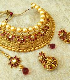 Buy Stunning Rani Pink Bridal Pearl Choker Necklace Set With Maang Tikka necklace-set online