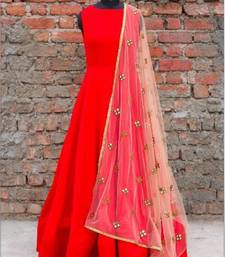 Buy Red art silk embroidered semi stitched salwar with dupatta party-wear-gown online
