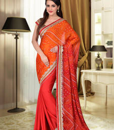 Buy Orange embroidered georgette saree with blouse navratri-sarees-nine-day online