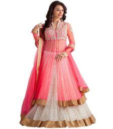 Buy Pink net embroidered semi stitched salwar with dupatta semi-stitched-salwar-suit online