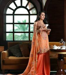Buy Orange georgette embroidered semi stitiched salwar with dupatta collar-neck-design online