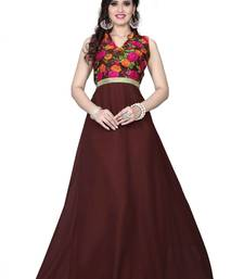 Buy Dark brown georgette printed semi stitched party wear gown party-wear-gown online