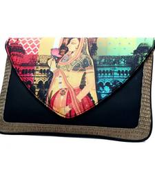 Buy Craftstages Leather & Jute Ethnic Bag clutch online