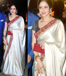 Buy Cream embroidered satin saree With Blouse sridevi-saree online