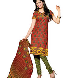 CottonBazaar Brown & Olive Green Colored Cotton Unstitched Salwar Kameez shop online