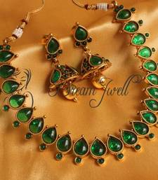 Buy GORGEOUS GREEN ANTIQUE NECKLACE SET necklace-set online