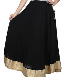 Buy Black plain georgette skirts skirt online
